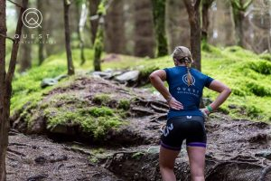 Woman hiking during Adventure Race Run Mummy Run