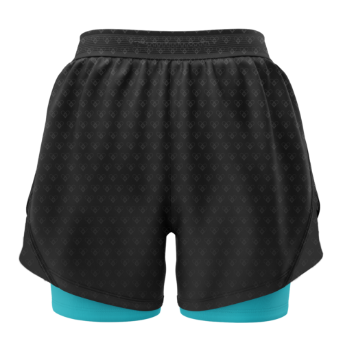 Image shows the back of the 2-in-1 shorts. Black upper layer with light blue/green undershorts.