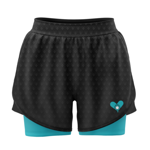 Image shows the front of the 2-in-1 shorts. Black upper layer with light blue/green undershorts.