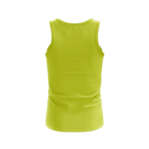 Image shows the back of the electric yellow vest. Plain back.