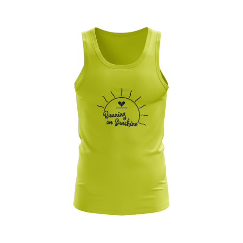 Image shows the front of the electric yellow vest. Slogan of Running on sunshine with an illustrated sun in navy.